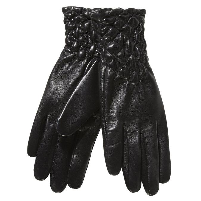 Damskie skórzane rękawiczki z przeszyciami bata, czarny, 904-6113 - 13