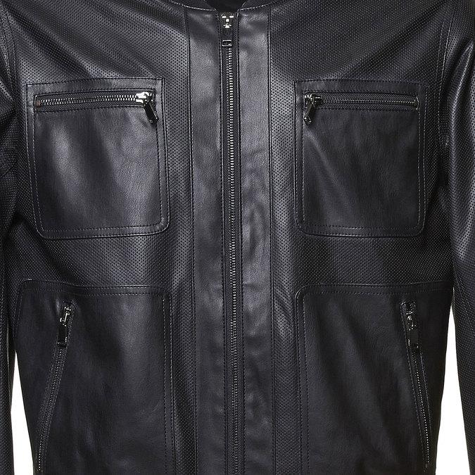 Męska kurtka z perforacją bata, czarny, 971-6173 - 16