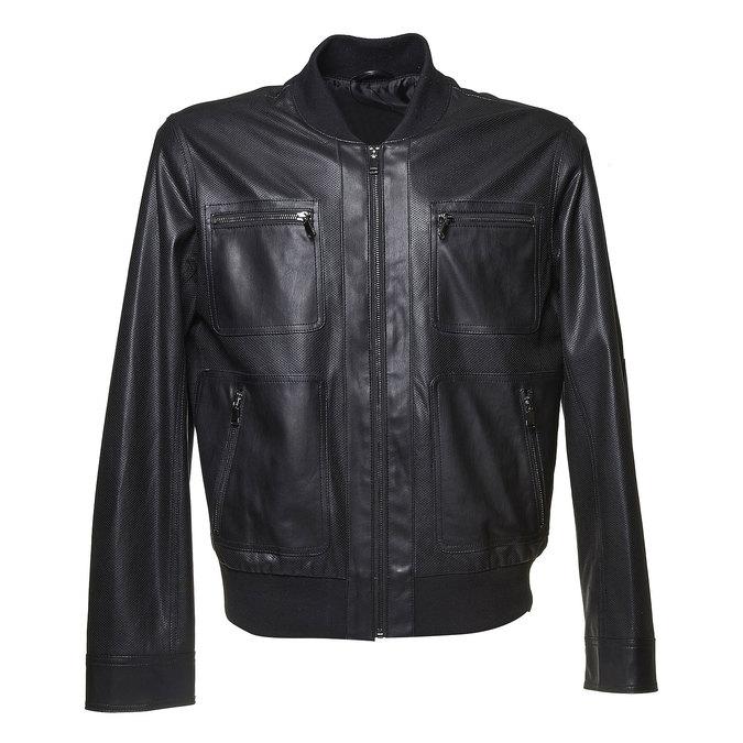 Męska kurtka z perforacją bata, czarny, 971-6173 - 13