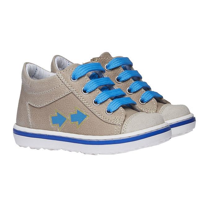 Dziecięce skórzane buty sportowe bubblegummer, brązowy, 114-3146 - 26