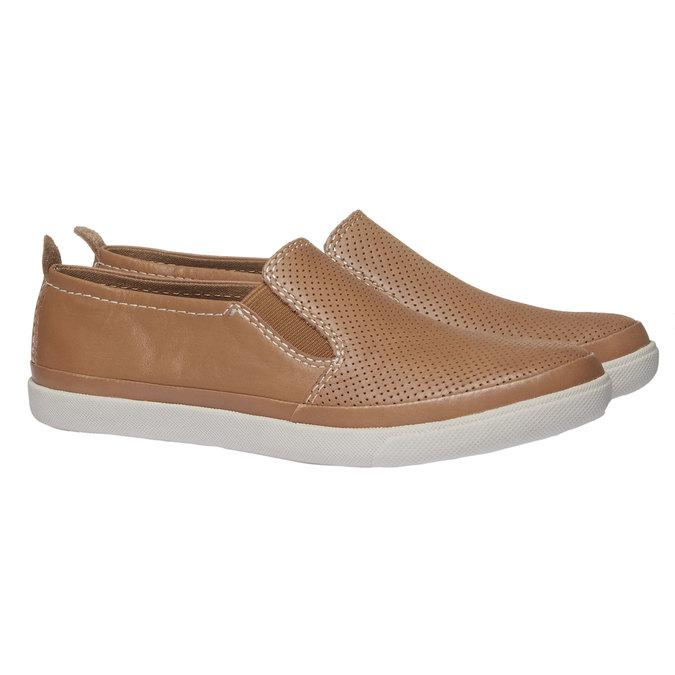 Skórzane buty Plim Soll z perforacją bata, brązowy, 514-3197 - 26