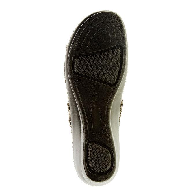Damskie pantofle na koturnie, niebieski, 674-9249 - 26