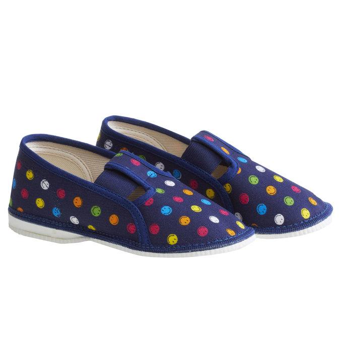 Dziecięce pantofle z uśmieszkami, niebieski, 179-9105 - 26