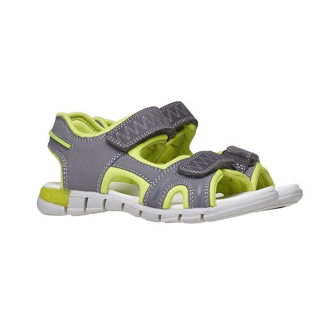 Dziecięce sandały ze skórzanymi paskami mini-b, szary, 264-2166 - 26
