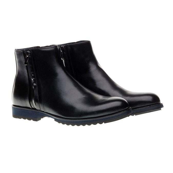 Skórzane botki z zamkami bata, czarny, 894-6138 - 26