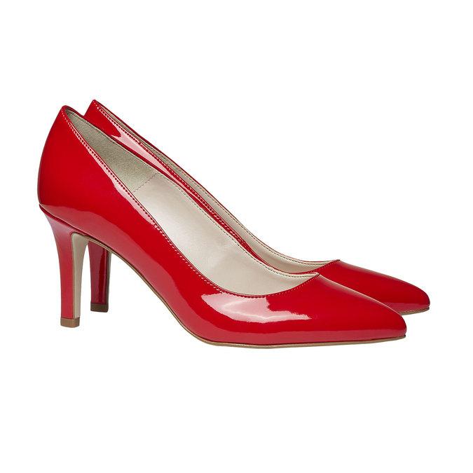 Czerwone skórzane czółenka bata, czerwony, 728-5955 - 26