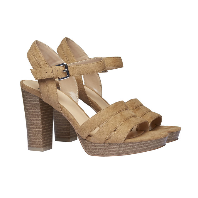Damskie sandały na masywnym obcasie bata, brązowy, 769-8484 - 26