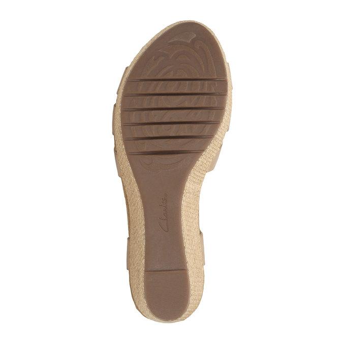 Skórzane sandały na platformie clarks, beżowy, 764-8002 - 26