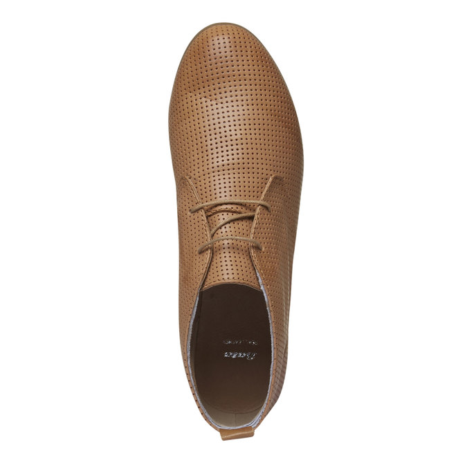 Skórzane botki z perforacją bata, brązowy, 526-3495 - 19