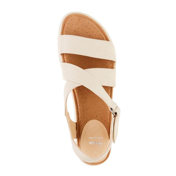 Damskie skórzane sandały bata, beżowy, 564-4351 - 19