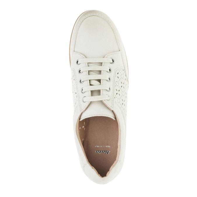 Skórzane buty sportowe na co dzień bata, biały, 524-1511 - 19