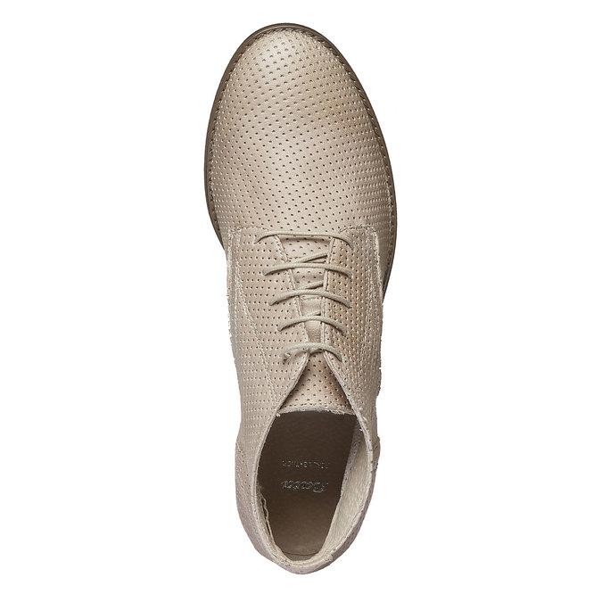Damskie skórzane botki bata, beżowy, 524-8468 - 19