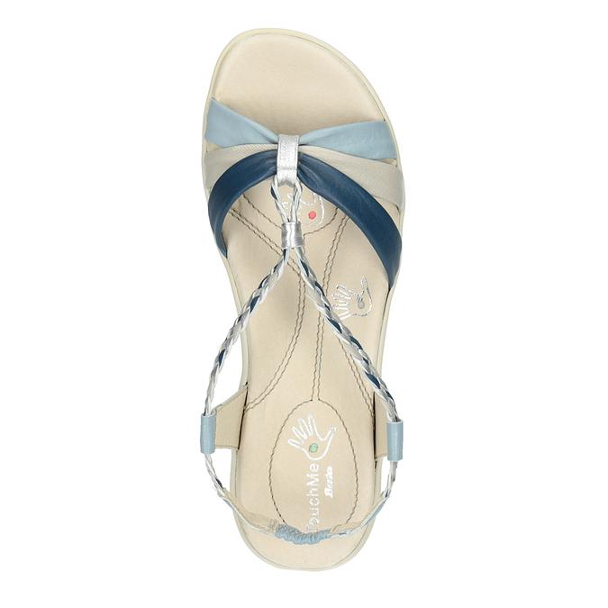 Damskie skórzane sandały bata-touch-me, niebieski, 564-9353 - 19