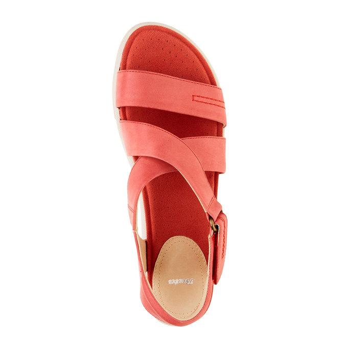 Damskie czerwone skórzane sandały bata, czerwony, 564-5351 - 19