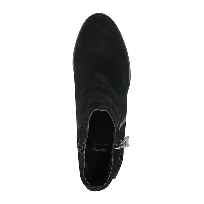 Skórzane buty za kostkę zfrędzlami bata, czarny, 793-6602 - 19