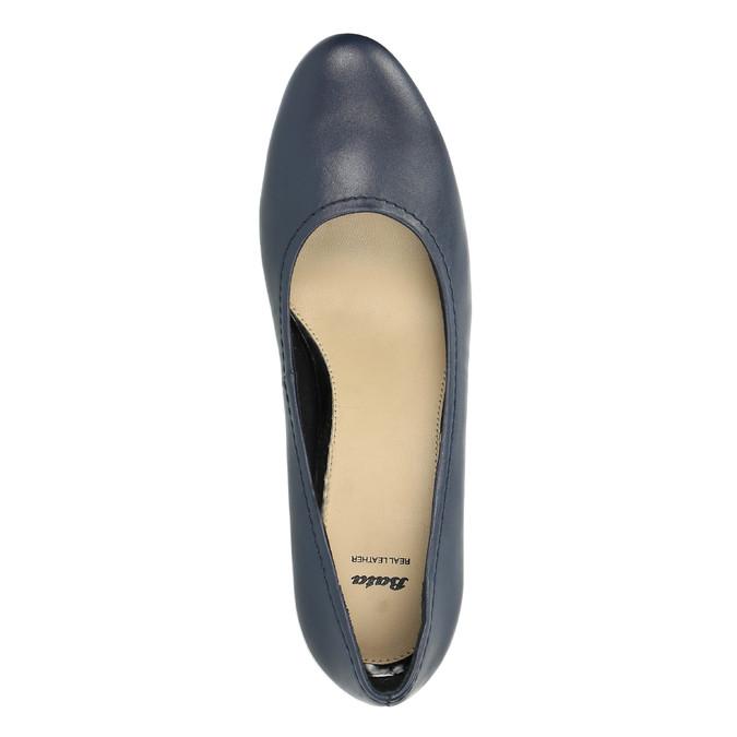 Damskie skórzane czółenka bata, niebieski, 624-9601 - 19