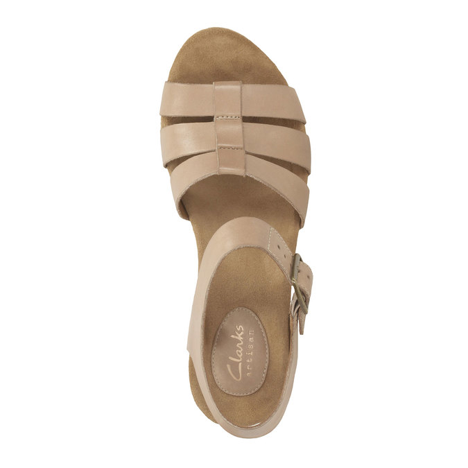 Skórzane sandały na platformie clarks, beżowy, 764-8002 - 19