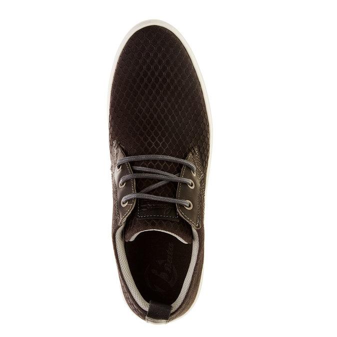 Skórzane buty sportowe na co dzień z wytłoczonym wzorem bata, brązowy, 843-2320 - 19