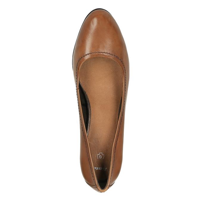 Czółenka damskie na szerokim obcasie bata, brązowy, 726-3604 - 19