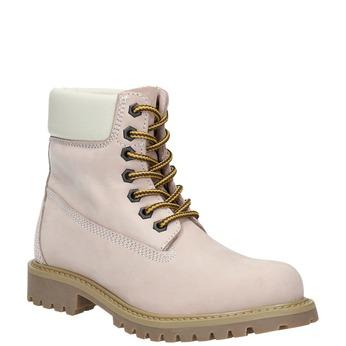 Skórzane buty dziecięce na grubej podeszwie weinbrenner-junior, różowy, 396-5182 - 13