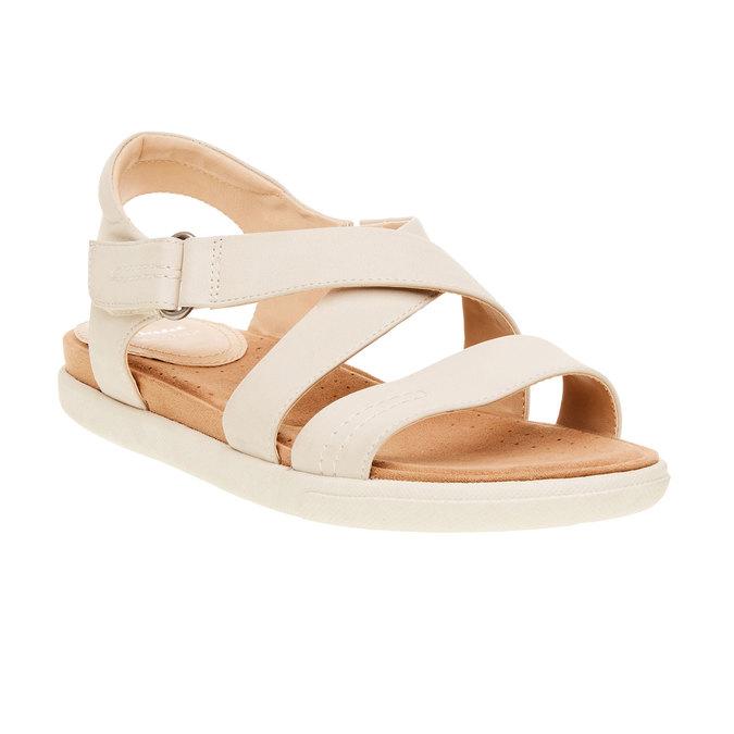 Damskie skórzane sandały bata, beżowy, 564-4351 - 13