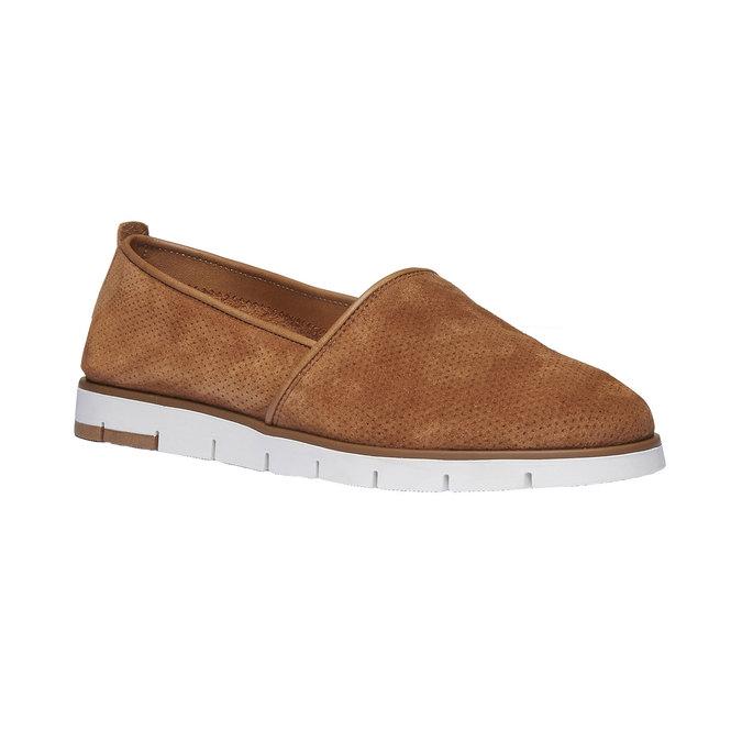 Skórzane buty Slip-on z perforacją flexible, brązowy, 513-3200 - 13