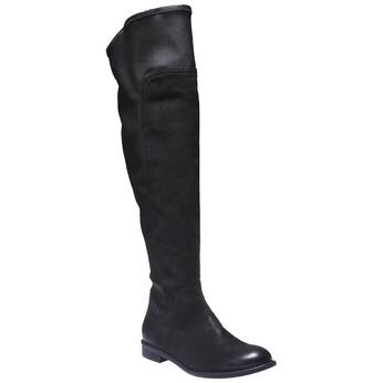 Skórzane kozaki do kolan bata, czarny, 596-6100 - 13