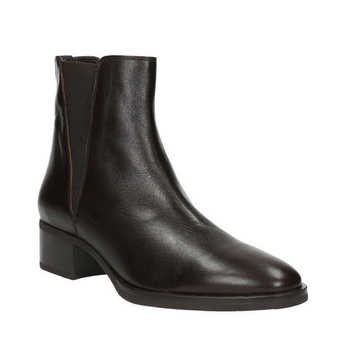Skórzane botki z elastycznymi bokami bata, brązowy, 596-4623 - 13