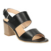 Skórzane sandały na szerokim obcasie bata, czarny, 664-6205 - 13