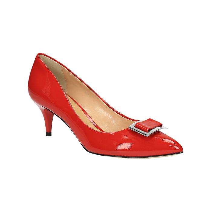 Czerwone czółenka damskie ze skóry bata, czerwony, 628-5630 - 13