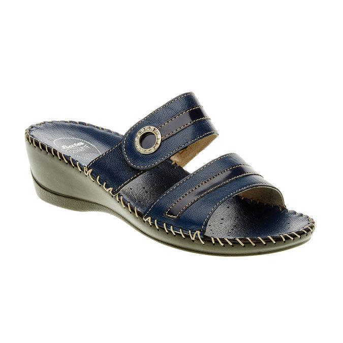 Damskie pantofle na koturnie, niebieski, 674-9249 - 13