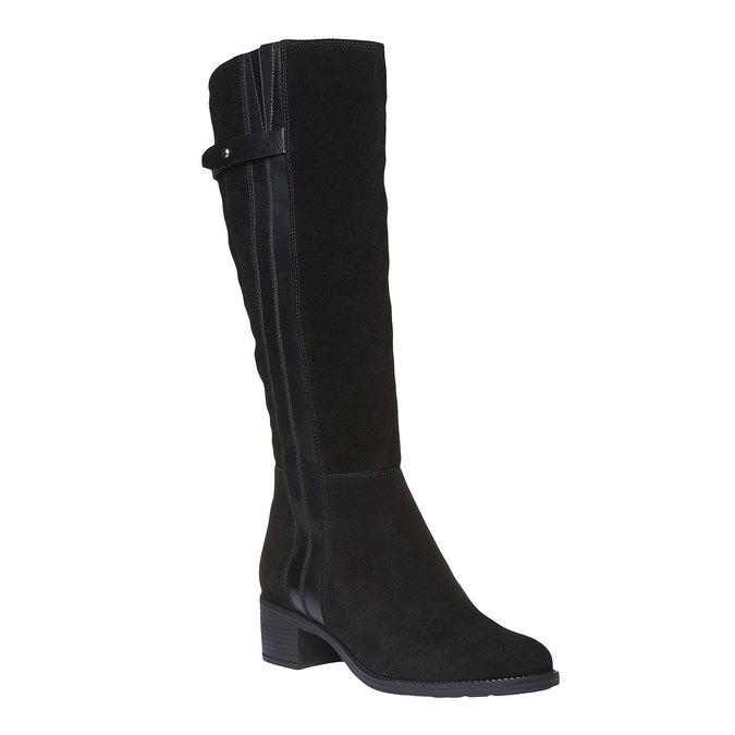 Zamszowe kozaki bata, czarny, 693-6100 - 13