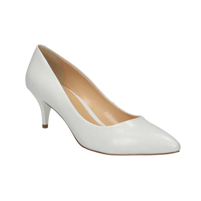 Białe czółenka ze skóry bata, biały, 624-1630 - 13