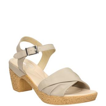 Skórzane sandały na niskim obcasie bata-touch-me, beżowy, 666-8203 - 13