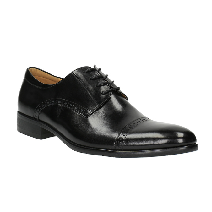 Męskie półbuty ze skóry, ze zdobieniami bata, czarny, 824-6640 - 13