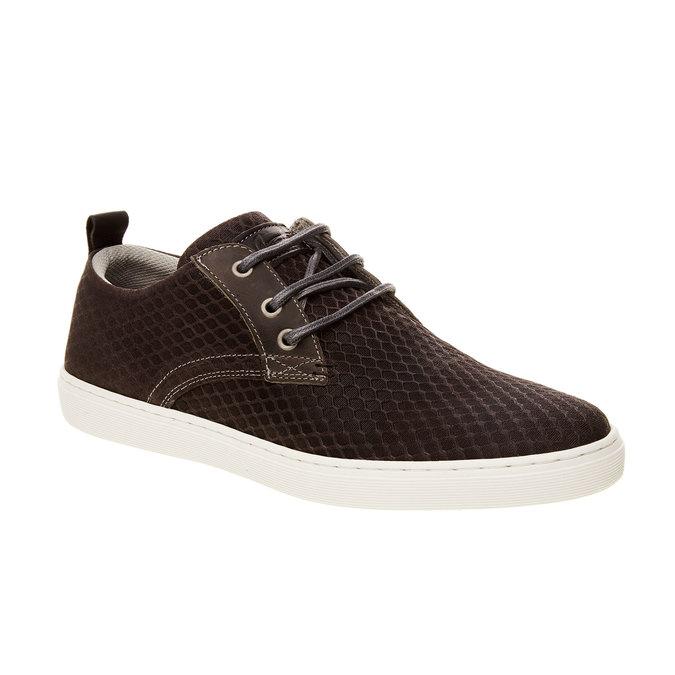 Skórzane buty sportowe na co dzień z wytłoczonym wzorem bata, brązowy, 843-2320 - 13