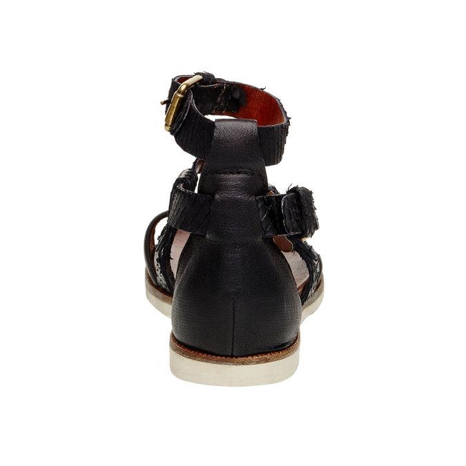 Damskie skórzane sandały bata, czarny, 566-6103 - 17