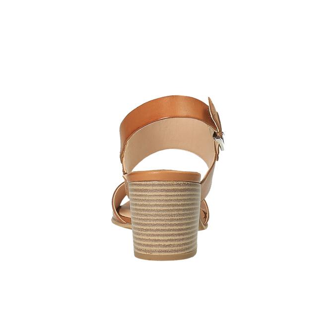 Skórzane sandały na szerokim obcasie bata, brązowy, 664-3205 - 17