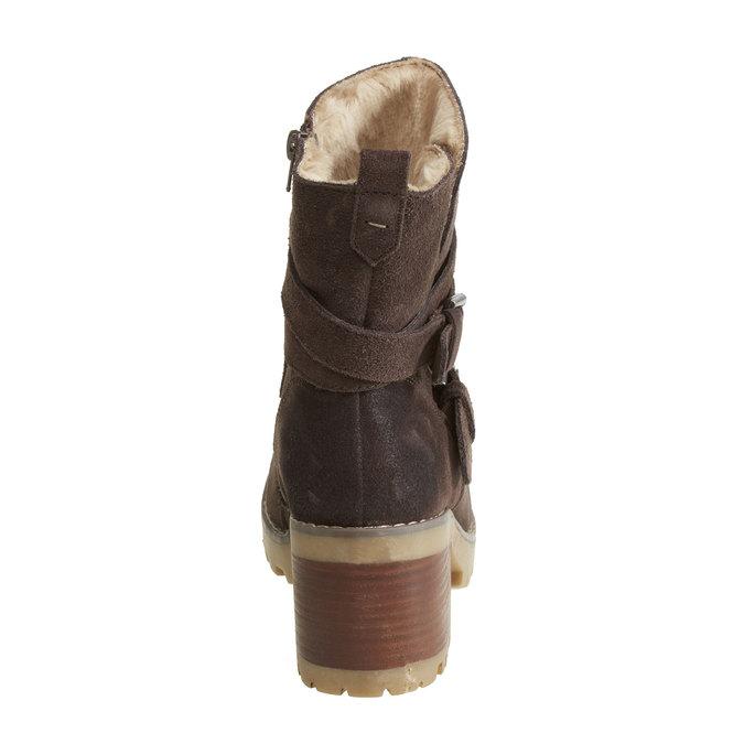 Skórzane kozaki ze sprzączkami bata, brązowy, 693-4100 - 17