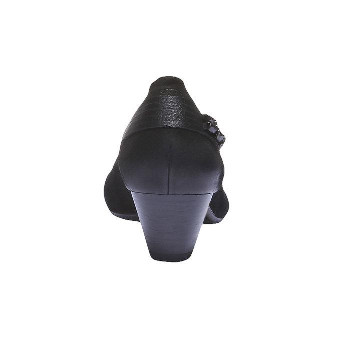Skórzane czółenka na niskim obcasie bata, czarny, 626-6102 - 17
