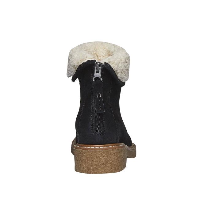 Skórzane kozaki do kostki z futerkiem bata, czarny, 593-6100 - 17