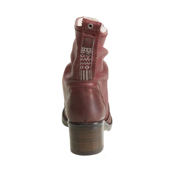 Skórzane botki bata, czerwony, 696-5108 - 17