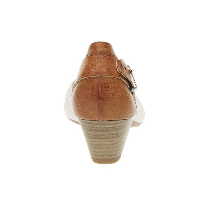Skórzane czółenka z paskiem bata, beżowy, 624-5391 - 17