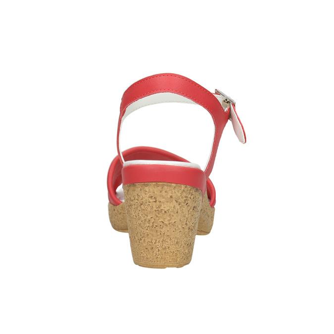 Skórzane sandały na niskim obcasie bata-touch-me, czerwony, 666-5203 - 17