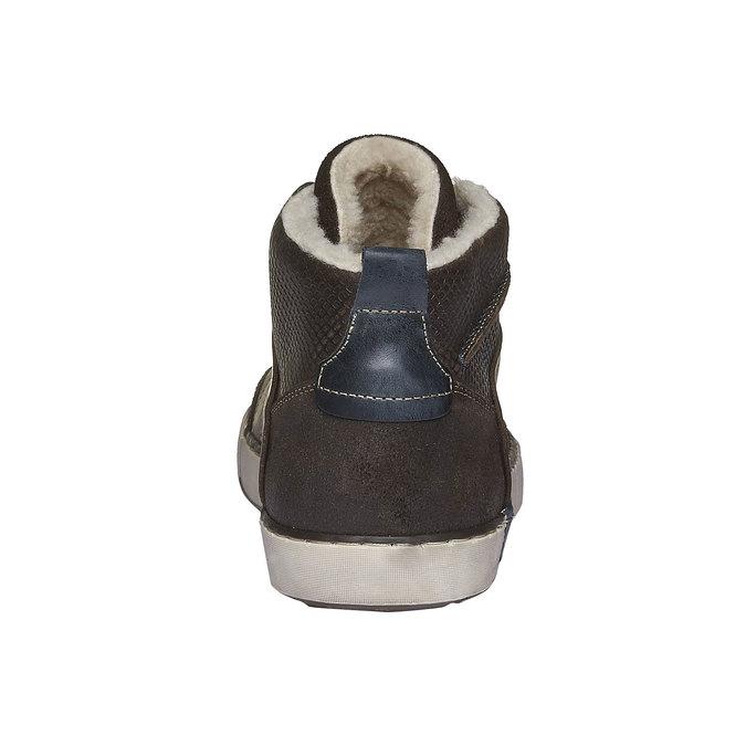 Skórzane, ocieplane buty sportowe do kostki bata, brązowy, 894-4127 - 17
