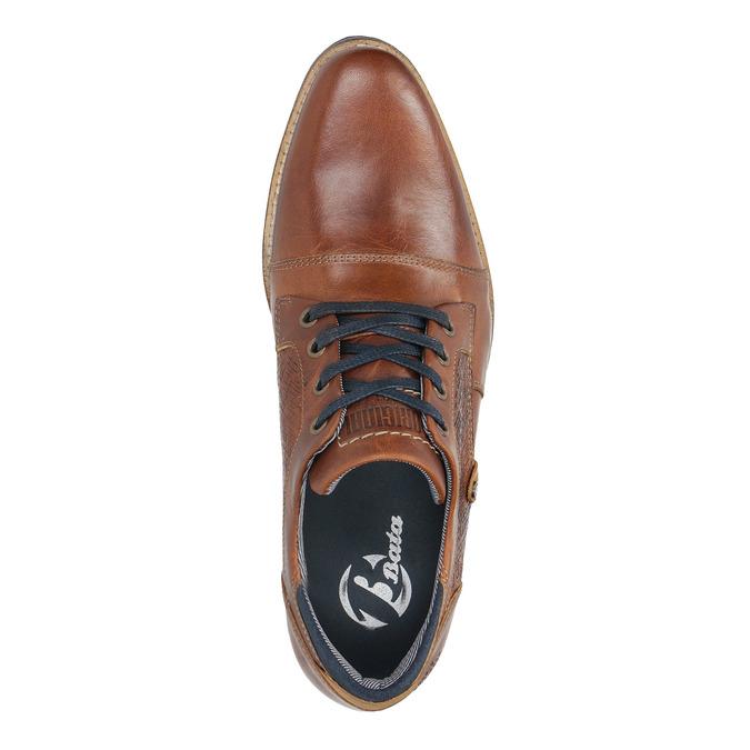 Półbuty ze skóry wnieformalnym stylu bata, brązowy, 824-4620 - 19