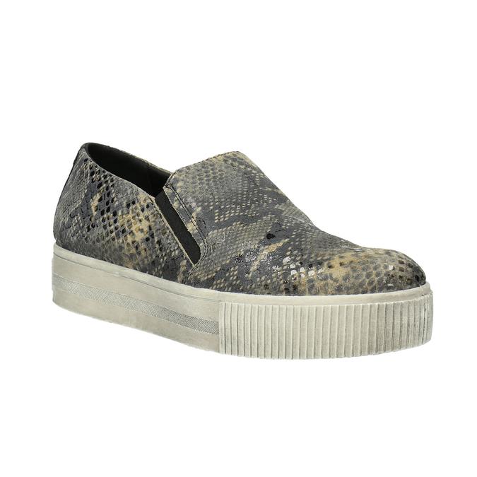 Skórzane buty Slip-on z wężowym wzorem bata, szary, 526-2606 - 13