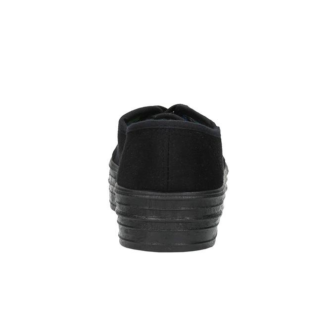 Czarne tenisówki na szerokiej podeszwie bata, czarny, 529-6630 - 17