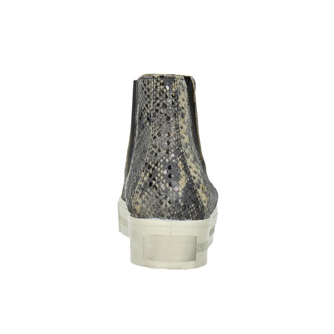 Skórzane botki na szerokiej podeszwie bata, szary, 596-2626 - 17