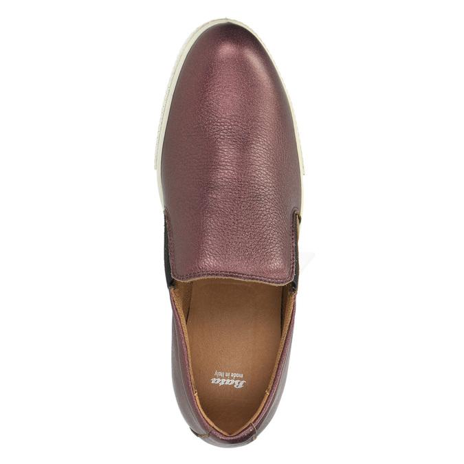 Skórzane buty Slip-on na szerokiej podeszwie bata, fioletowy, 526-5605 - 19